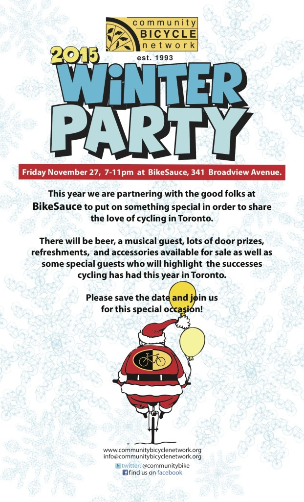Community Bike Network is celebrating their annual Winter Party on Friday November 27